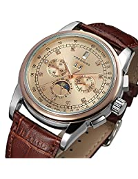 Gosasa Men's Rose Gold Plated Vintage Automatic Moon Phase Brown Leather Dress Watch