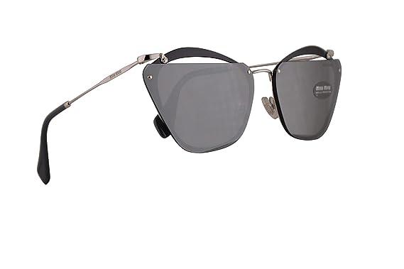 Amazon.com: Miu Miu MU54TS Gafas de sol gris con espejo gris ...