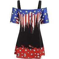 Xavigio Women's Off Shoulder Strap Short Sleeve American Flag Print Tunic Tshirts Casual Plus Size Blouses Top