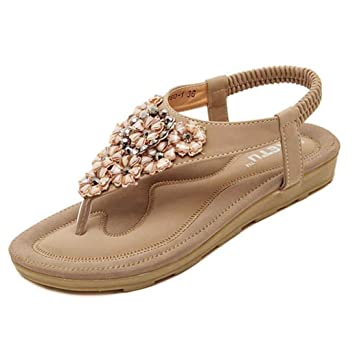 Elecenty Sandalen Damen,Schuhe Shoes Schuh Sommerschuhe Bequeme 3D Blume Sandaletten Frauen Sommer Zehentrenner Offene Flache Badesandalette Freizeit Elegante Zehensandale Strandschuhe (36, Rosa)