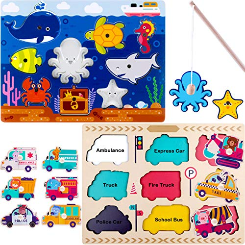 iPlay, iLearn Wooden Peg Puzzles, Magnetic Fishing Pole Game, Jigsaw Board, Vehicles, Ocean / Sea Animals, Learning Toy Birthday Gift for 1, 2, 3 Year Olds Toddlers, Kids, Boys, Girls