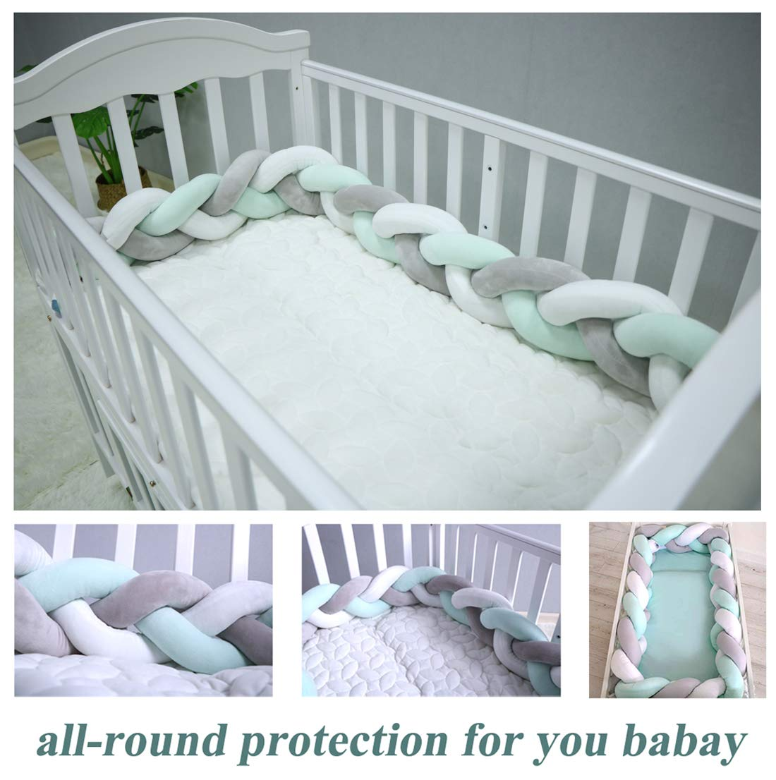 158 inch Baby Crib Bumper Plush Nursery Cradle Decor Knotted Braided Junior Bed Sleep Safety Bedside Padded Plush Cushion for Newborn Gift