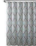 Blue and Brown Shower Curtain Elegant Blue Brown Neutrals Fabric Shower Curtain: Teardrop Paisley Print Design, 72