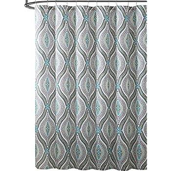 Elegant Blue Brown Neutrals Fabric Shower Curtain Teardrop Paisley Print Design 72 X Inch