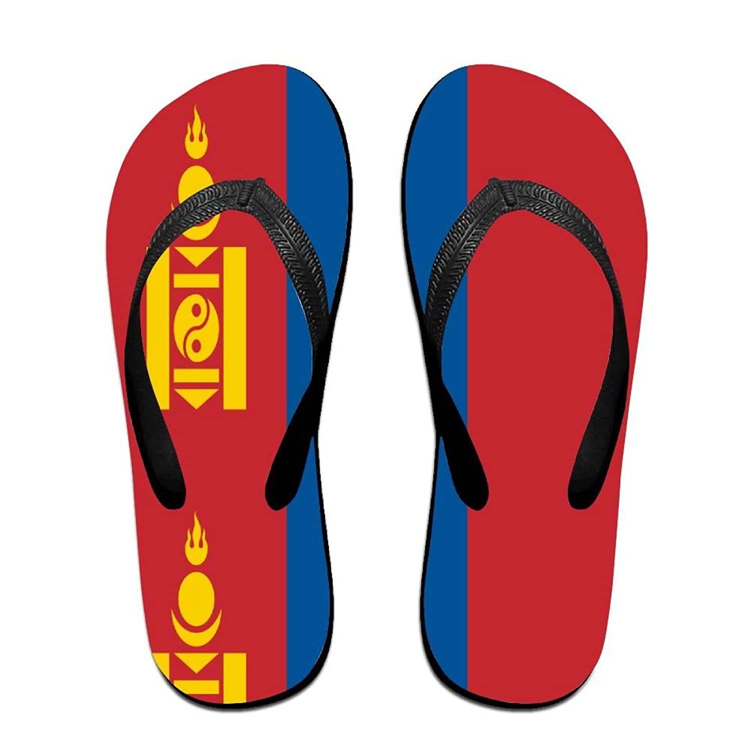 Flag Of Mongolia Cool Flip Flops For Children Adults Men And Women Beach Sandals Pool Party Slippers