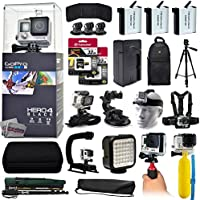 GoPro Hero 4 HERO4 Black CHDHX-401 with 64GB Memory + 3x Batteries + Travel Charger + Backpack + 60 Tripod + Head/Chest Strap + Suction Cup + Hand Glove + LED Light + Stabilizer + Case + More!
