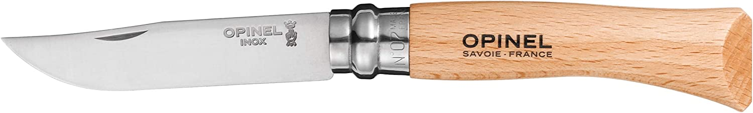 Opinel No7 Stainless Steel Folding Knife with Beechwood Handle