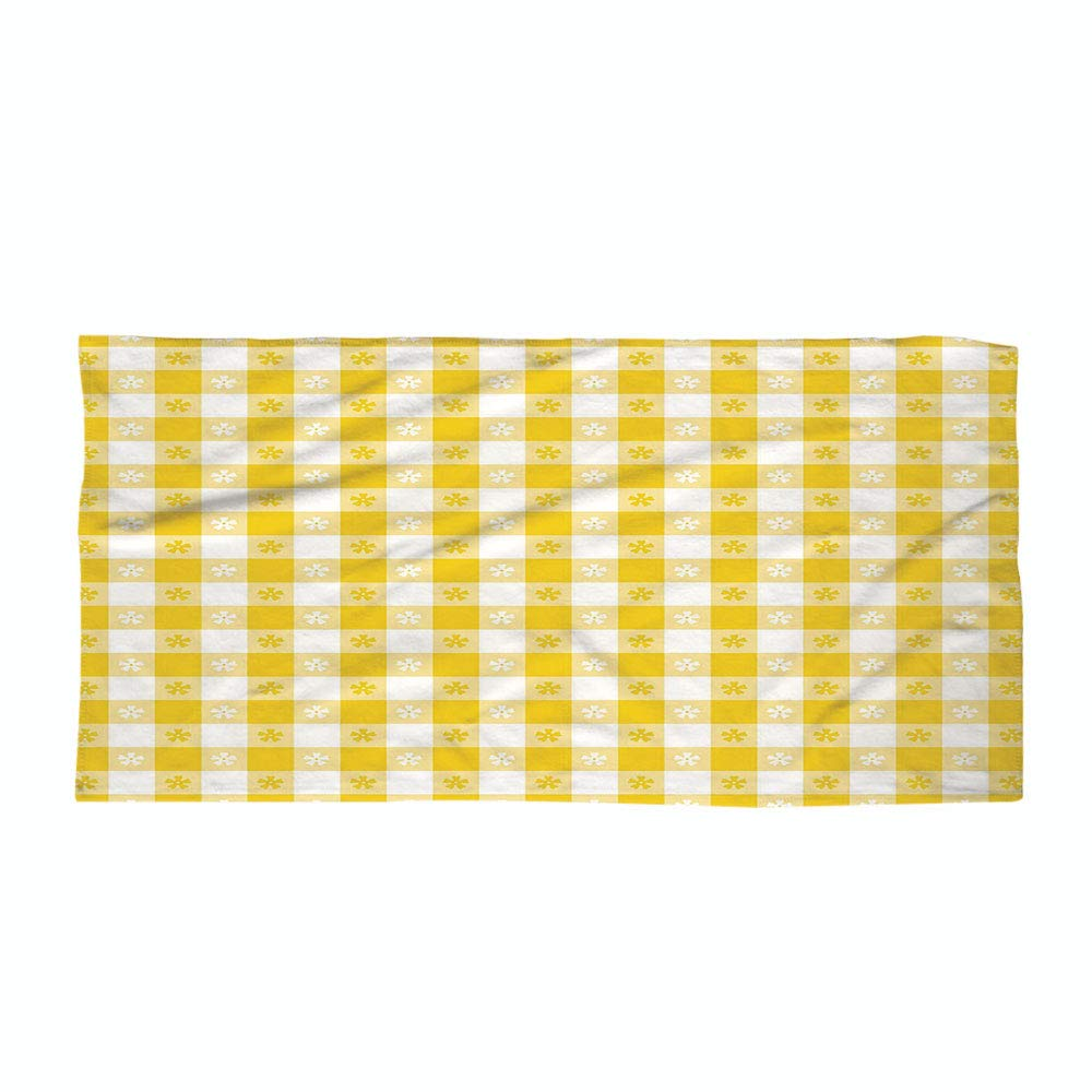 Cotton Microfiber Beach Towel,Yellow and White,Checkered Motif with Little Spring Blooms Classic Country Picnic Pattern Decorative,Yellow White,for Kids, Teens, and Adults