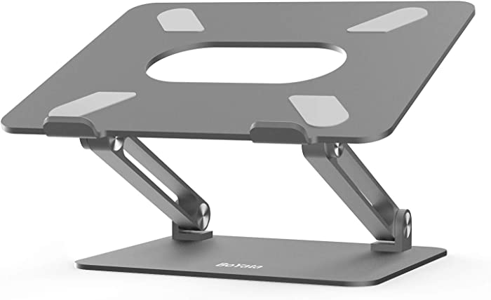 Laptop Stand, Boyata Laptop Holder, Multi-Angle Stand with Heat-Vent to Elevate Laptop, Adjustable Notebook Stand for Laptop up to 17 inches, Compatible for MacBook, HP Laptop and so on - Space Gray