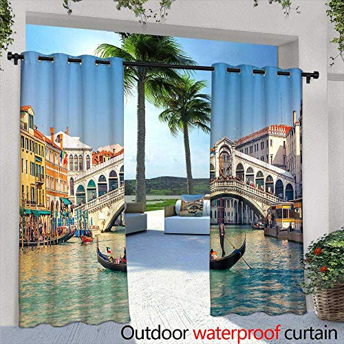 Fashions Drape,Ice Cream Desserts Wafer Cone, ice Cream with ice Cream and ice Cream, ice Cream with ice Cream and ice Cream Vector Desserts,W96 x L84 Outdoor Patio Curtains Waterproof with Grommet