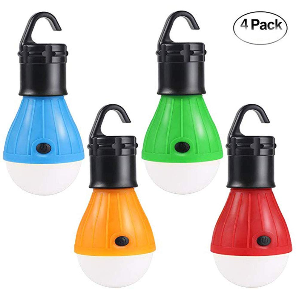 Bemall 4 Pack LED Camping Light, Portable Tent Lighting Lamp Water Resistance Emergency Tent Lantern with Battery Powered, Camping Lamp for Backpacking Hiking Fishing Outdoor Indoor Lighting