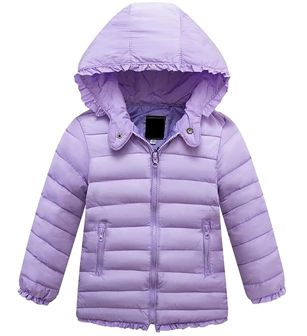 Esast Little Girls Autumn Long Sleeve Lace Trim Solid Color Hooded Puffer Down Jacket