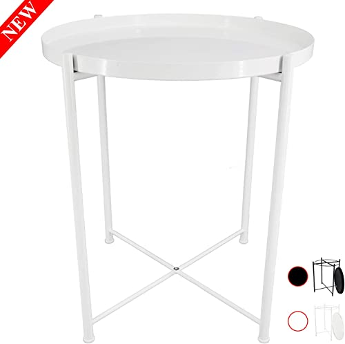 Ovicar Tray Metal End Table, Round Side Accent Coffee Table, Small Stylish Sofa Snack Table with Anti-Rust and Waterproof Metal Frame for Living Room, Bedside, Outdoor Indoor, White