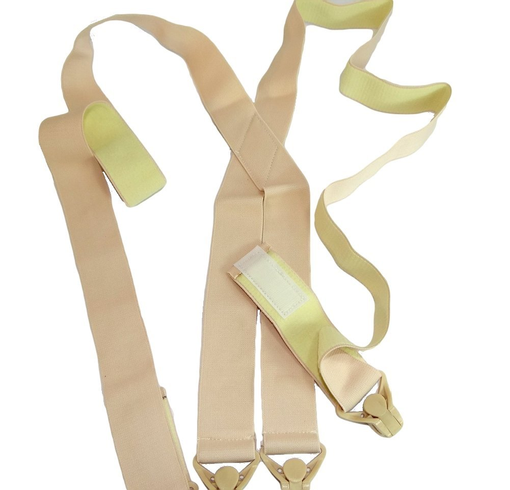 Holdup Brand USA made 2'' Wide Undergarment Hidden Beige Suspenders in X-back style with Patented no-alarm composite plastic Gripper Clasps