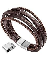 murtoo Herren Armband Echtleder Armband schwarz braun geflochten mit Magnet Verschluss