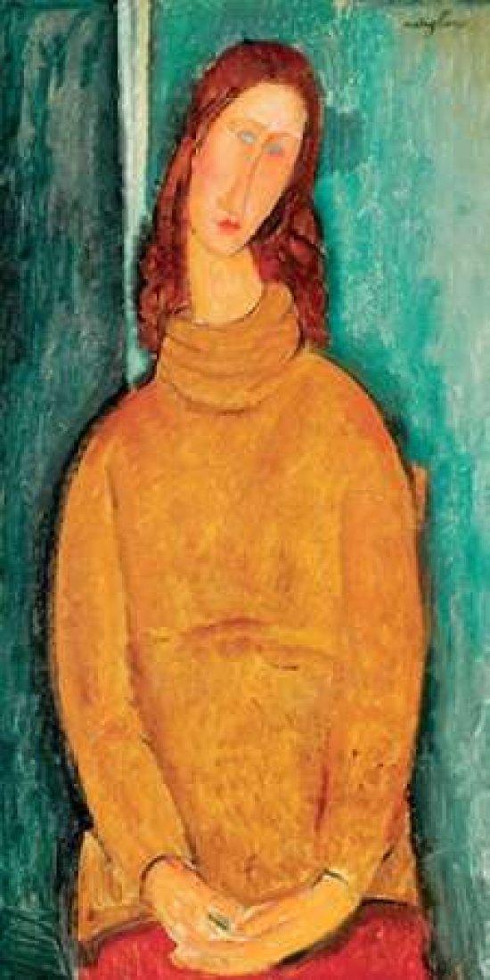 Portrait of Jeanne Hebuterne Poster Print by Amedeo Modigliani 24 x 48