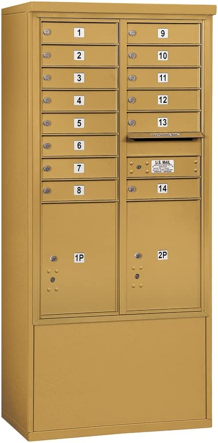 Salsbury Industries 3913d 14gfp 4c Free Standing Horizontal Front Loading Double Column 14 Mb1 Doors 2 Pl5 S Private Access Gold Mailbox Amazon Com