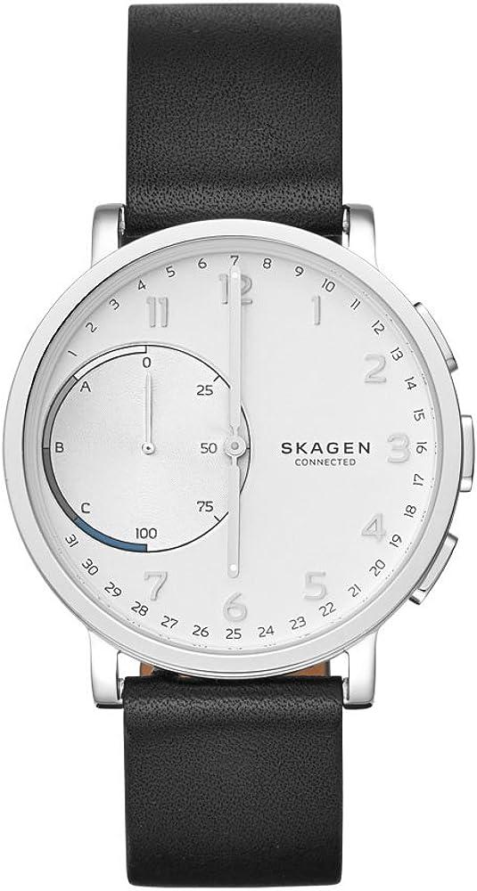 Skagen Men s 42mm Hagen Connected Black Leather Hybrid Smart Watch