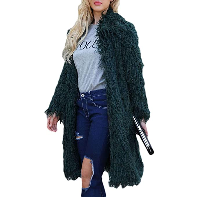 HANMAX Damen Winter Faux Pelz Wärmemantel Fellmantel