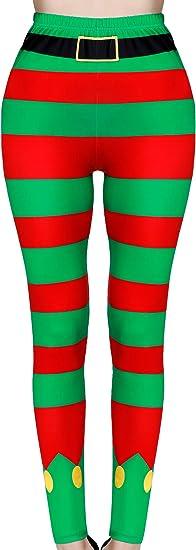 SATINIOR Christmas Leggings Footless Ugly Santa Claus Striped Tights Xmas,Women