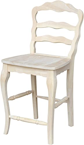 International Concepts Unfinished Versailles Counter Height Stool, 24-Inch, Brown
