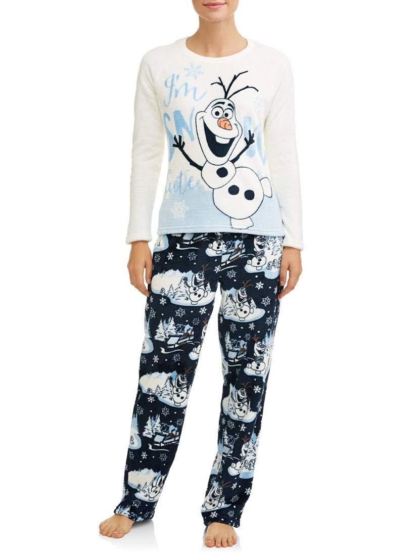 Disney Women's Frozen Olaf The Snowman 2-Piece Minky Fleece Pajama Set (2XL 18W-20W, Winter White Olaf)