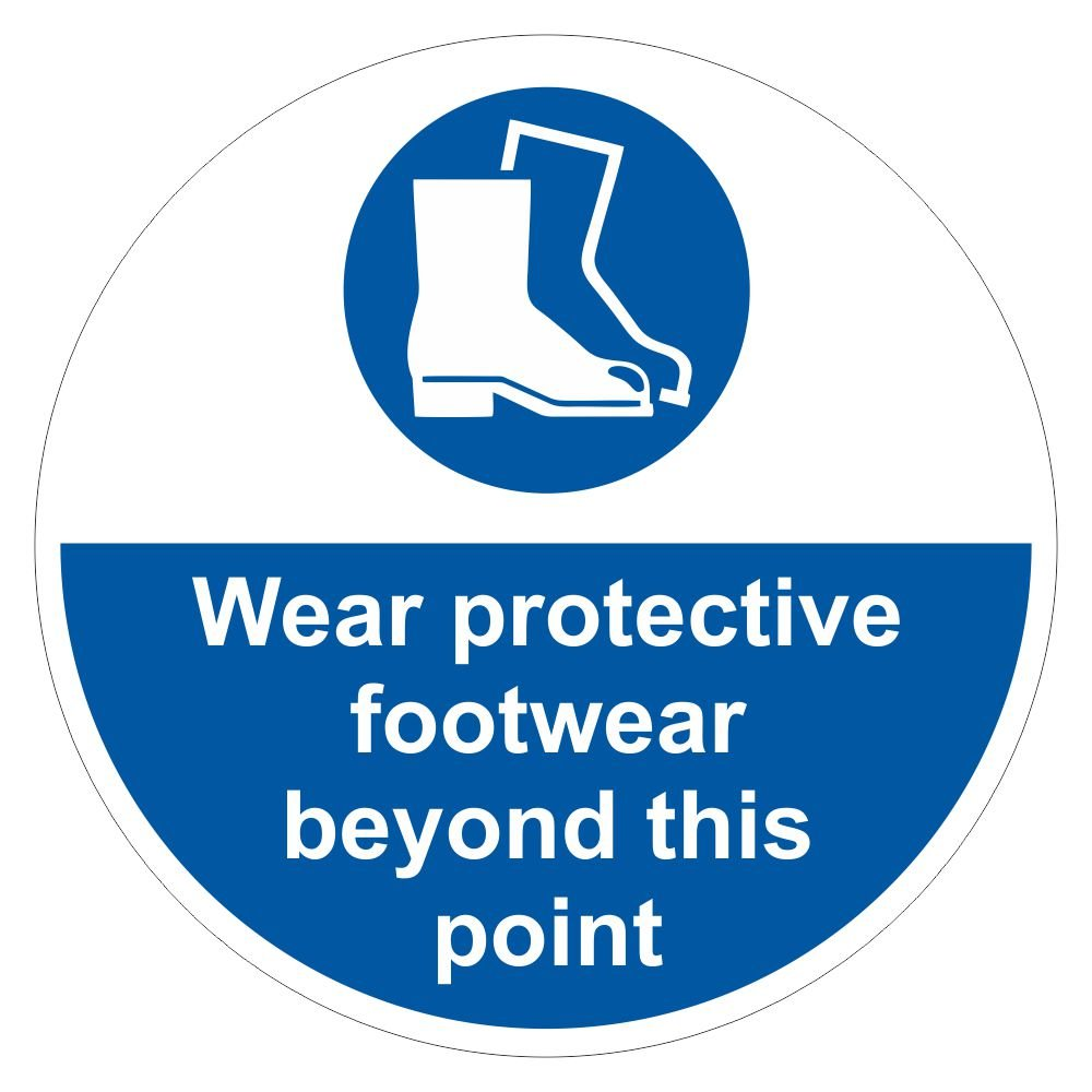 Floor Graphics Markers - Protective Footwear Sign - 400mm Diameter - Self-adhesive
