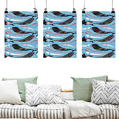 Wall Painting Prints Narwhal Arctic Giant Sea Mammals Orca White Whale Narwhal Sketch Ocean Fauna Painting Home Decor Prints Posters 3 Panels 24x35inchx3pcs Blue Dark Coral Black