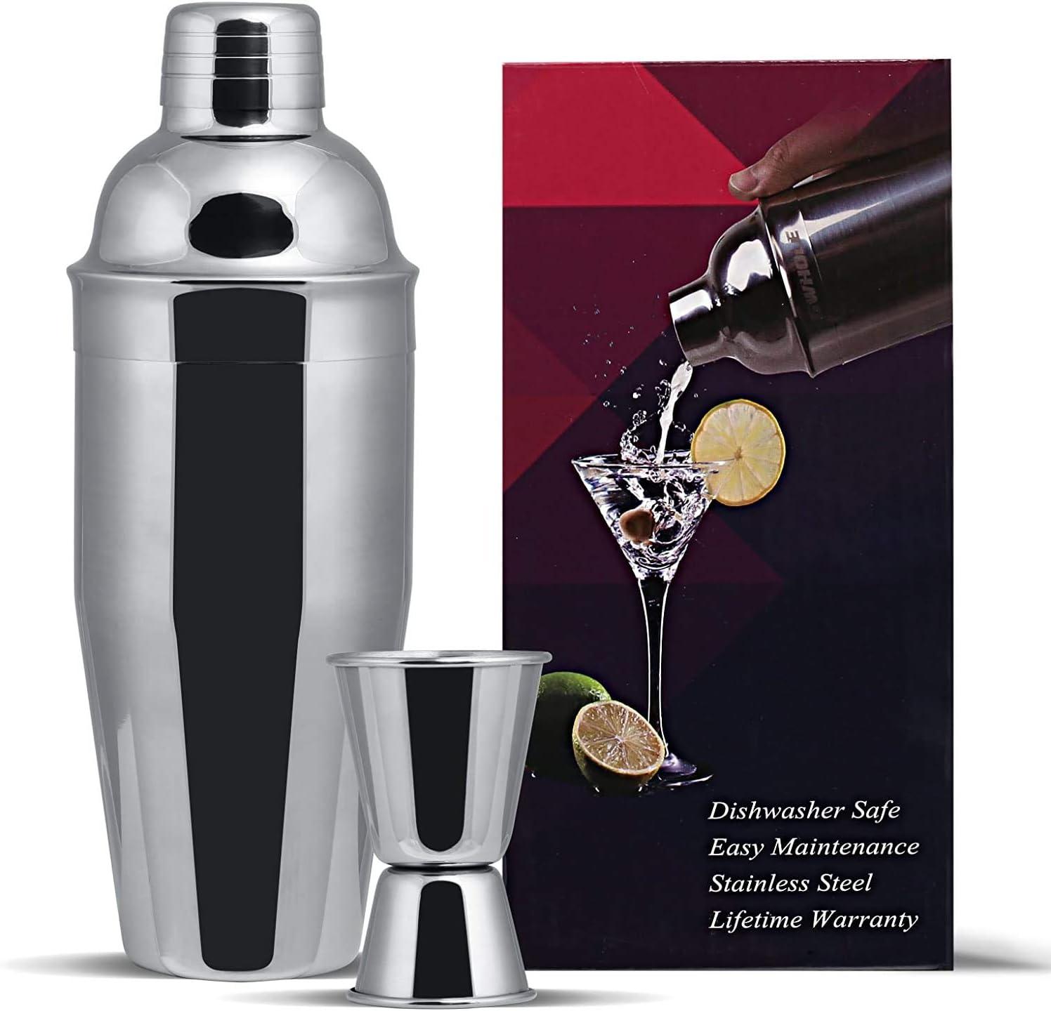 GWHOLE Juego de 3 cocteleras de 750 ml con colador integrado, un medidor doble y recetas (libro electrónico)