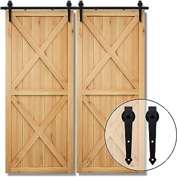 487CM/16FT Herraje para Puerta Corredera Kit de Accesorios para Puertas Correderas Juego de Piezas,para puerta doble,negro: Amazon.es: Bricolaje y herramientas