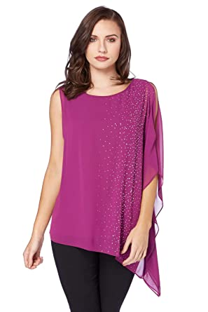 d0147cff4c0c0a Roman Originals Womens Gem Detail Chiffon Overlay Top - Magenta - Size 20:  Amazon.co.uk: Clothing