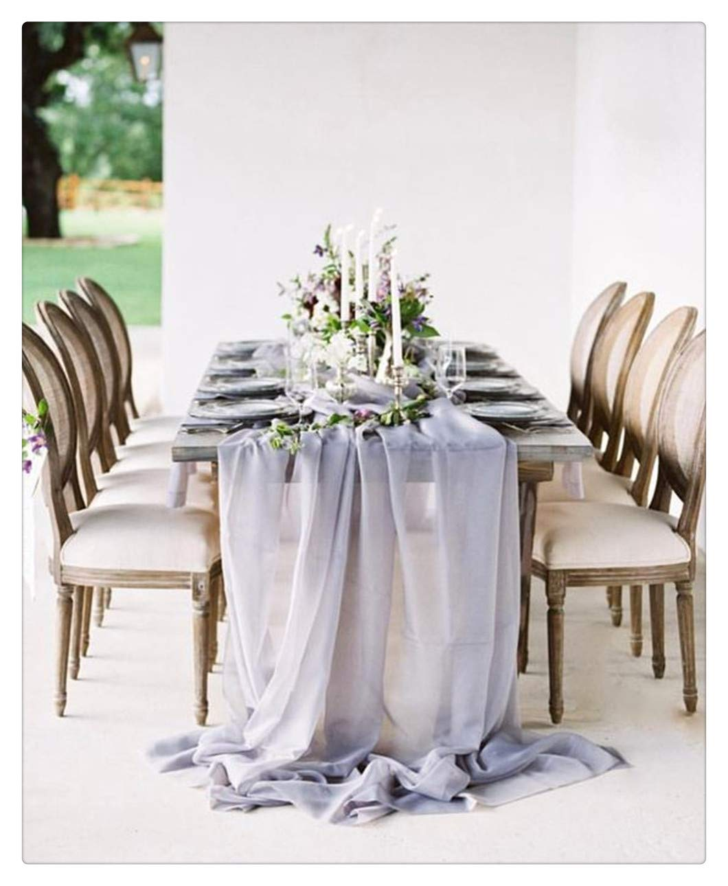 SoarDream 1 Piece Gray Chiffon Table Runners 27x120 inches Sheer Table Runner Wedding Reception Top Table Decoration