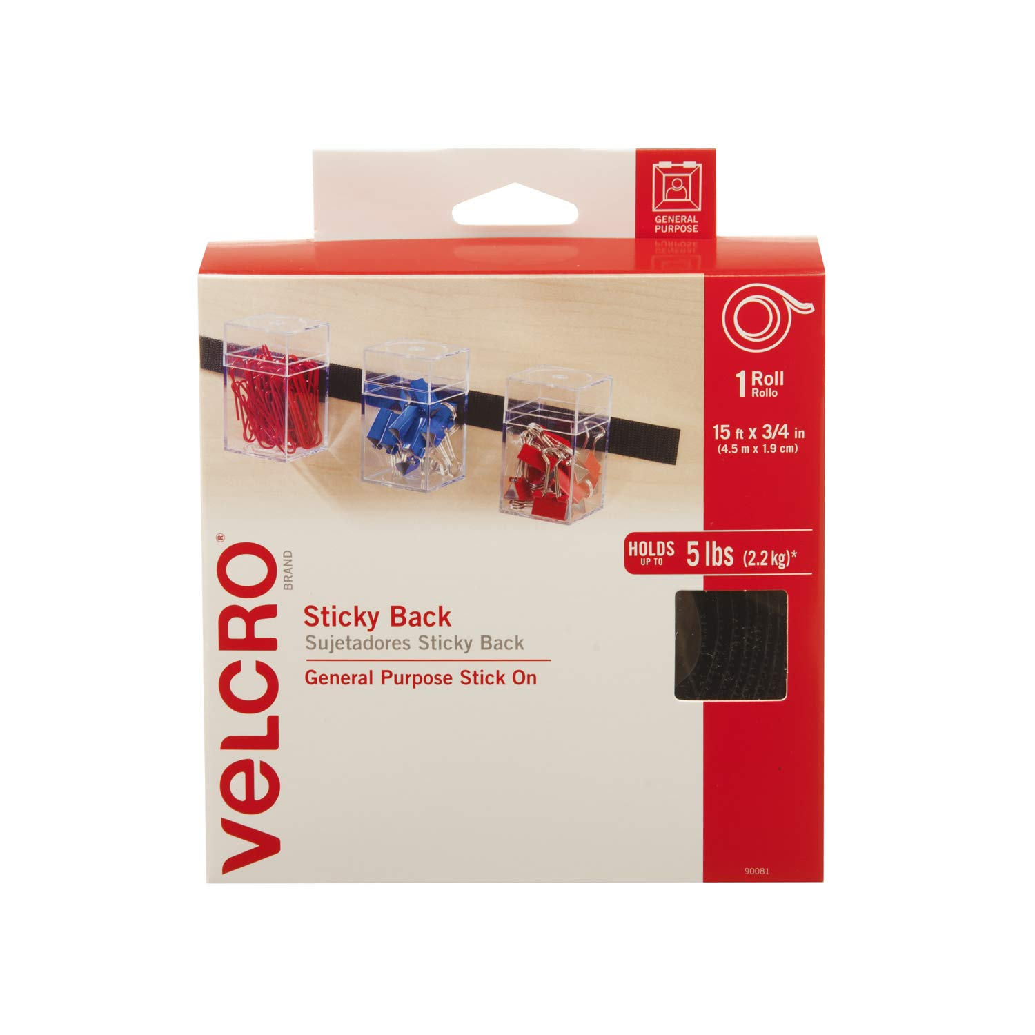 VELCRO Brand - Sticky Back Hook and Loop Fasteners| Perfect for Home or Office |15ft x 3/4in Tape | Black