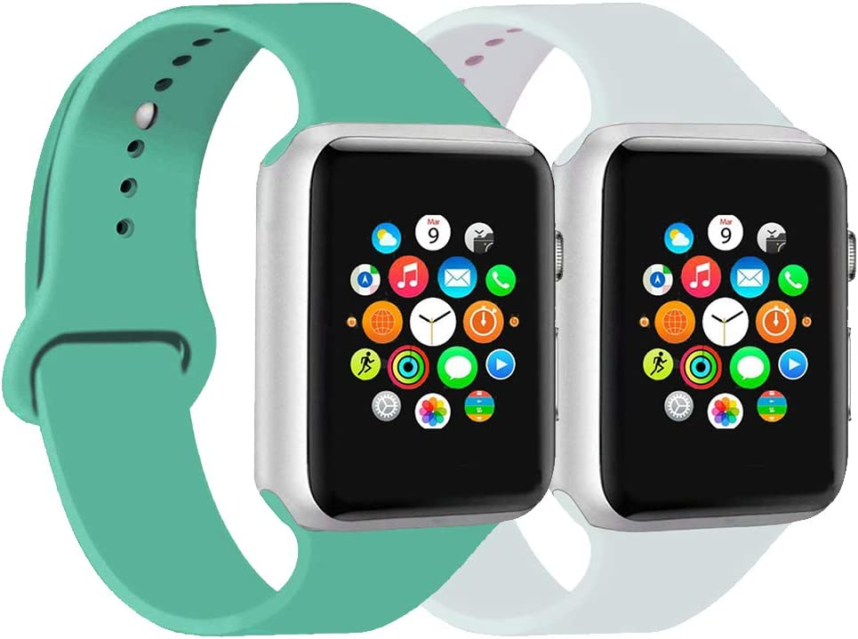 CoJerk Compatible for Apple watch Band 38mm 40mm 42mm 44mm,Replacement Band for iWatch Series 5/4/3/2/1 (Mint green+White, 38mm/40mm-sm)