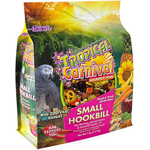 Tropical Carnival F.M. Brown's Gourmet Bird Food for Parrots, African Greys, and Conures Under 13