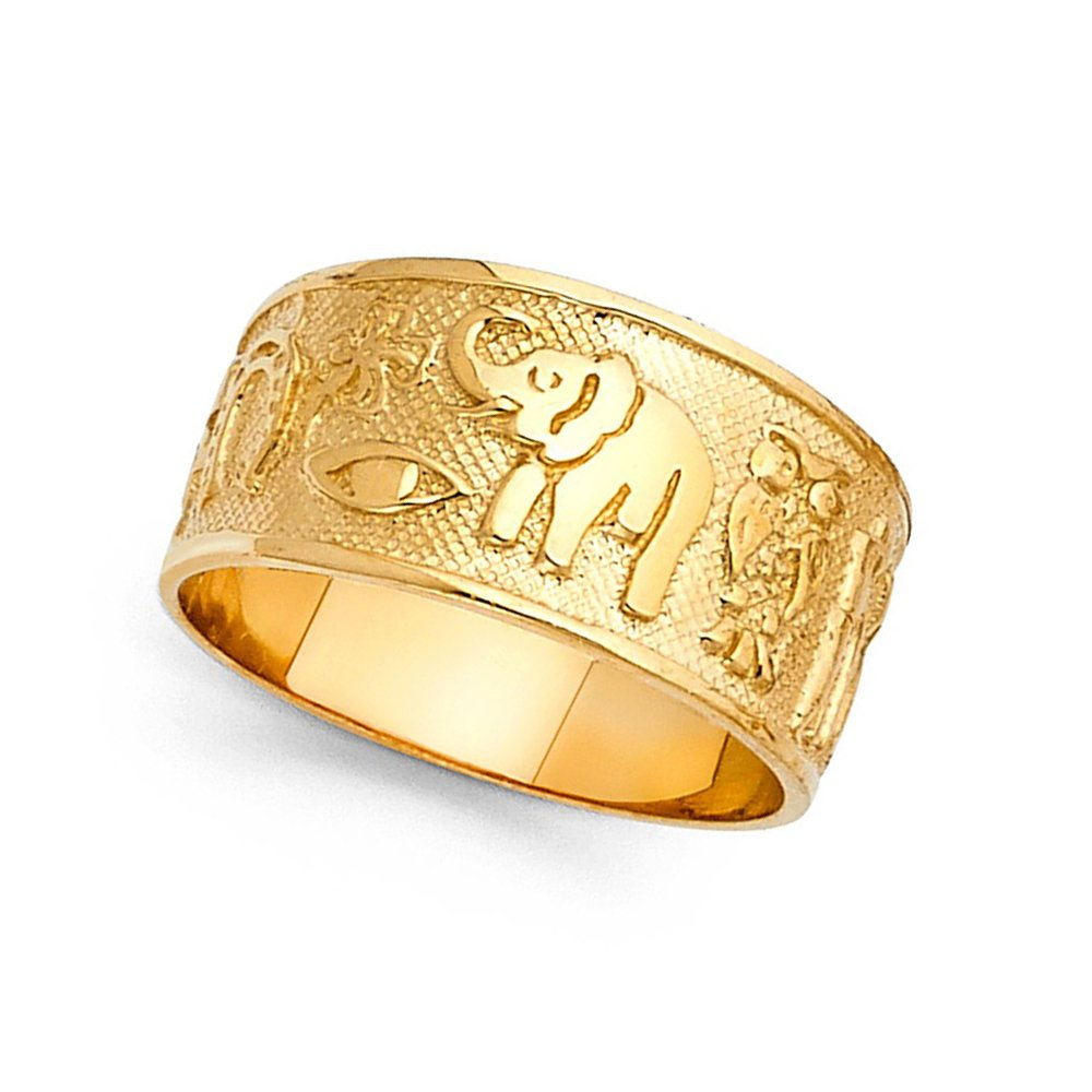 Elephant Owl Clover Horseshoe Lucky Ring Solid 14k Yellow Gold Good Luck Charm Band Fancy 10MM Size 6.5