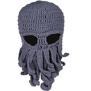 Moonpop Unisex Handarbeit Lustige Oktopus Strickmütze Bartmütze Stickmütze Häkeln Wollmütze Windschutz Mütze Halloween Party Maske Gesichtsmaske