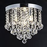 ZEEFO Crystal Chandelier, Modern Chandeliers Crystal Ball Light Fixture, 3 Lights, Flush Mount Ceiling Light 11.8 Inches Diameter for Hallway, Bedroom, Living Room, Kitchen, Dining Room (Silver) For Sale