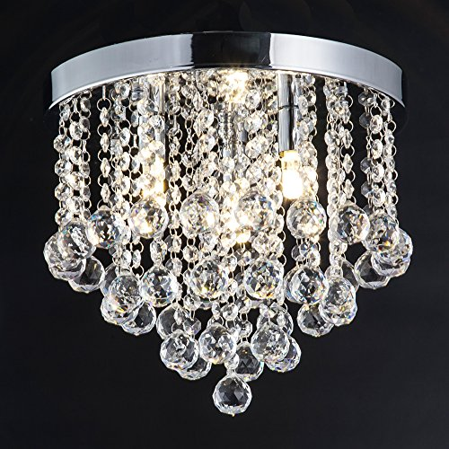 ZEEFO Crystal Chandelier, Modern Chandeliers Crystal Ball Light Fixture, 3 Lights, Flush Mount Ceiling Light 11.8 Inches Diameter for Hallway, Bedroom, Living Room, Kitchen, Dining Room (Silver) ()