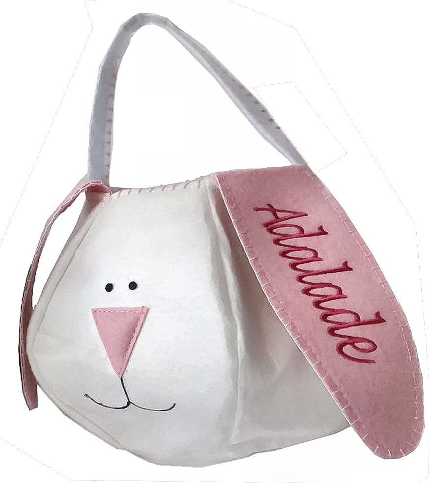 Personalized Easter Basket – Pink Felt Bunny Basket Tote Bucket Embroidered Pink for Girls