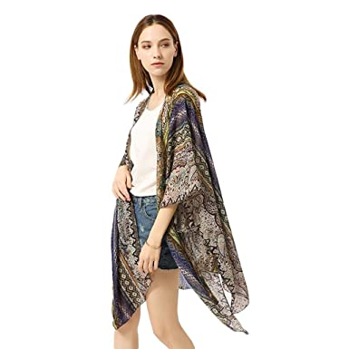 7ad7fa6029 G-Real 2019 New Summer Womens Floral Kimono Loose Half Sleeve Chiffon  Casual Cardigan Cover Up Navy at Amazon Women's Clothing store: