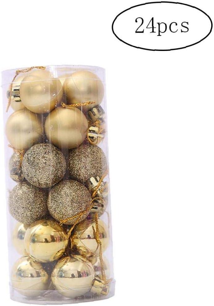 24pcs De M/últiples Bolas De Navidad con Cadena Pr/áctica Bola Pl/ástica Inastillable Adornos del /Árbol De Navidad Bolas De Oro Aardich 1box Uso