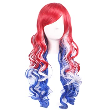 Amazon.com  Long Wavy Cosplay Wig Womens Costume Harajuku Party Wig (Red  Blue and White)  Beauty 41d289de30