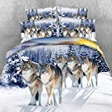 Alicemall Twin Size Wolf Bedding Set Lifelike Snow Wolf Digital Printing 5-Piece Comforter Sets, Twin/ Full/ Queen/ King Size (Twin)