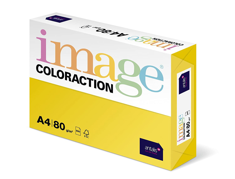 Antalis Coloraction 89609 - Risma di carta colorata, formato A4, 500 fogli, 80 g/m2, colore: Giallo canarino 266405-CAN