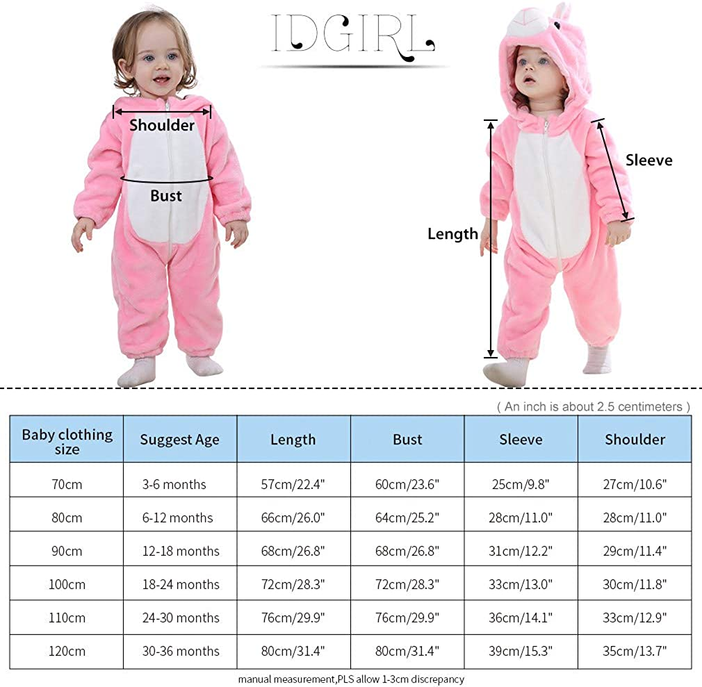 IDGIRL Toddler Bunny Costume,Animal Rabbit Cosplay Pajamas for Toddler Girl Winter Flannel Romper Outfit
