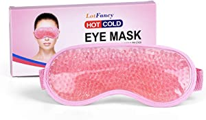 Reusable Gel Eye Mask by LotFancy, Beads Ice Pack, Hot Cold Therapy for Puffy Eyes, Dark Circles, Migraines, Headache Pain Relief, Adjustable Strap, Soft Fabric Backing