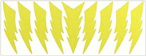 LiteMark Reflective 4 Inch Lightning Sticker Decals for Hard Hat Sport Helmet Bike Laptop - Pack of 9
