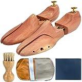 改良版 シューキーパー シューツリー ブラシ付 レッドシダー24.5-29cm 木製 シワ伸ばし 型崩れ防止 脱臭 香り メンズ Mサイズ