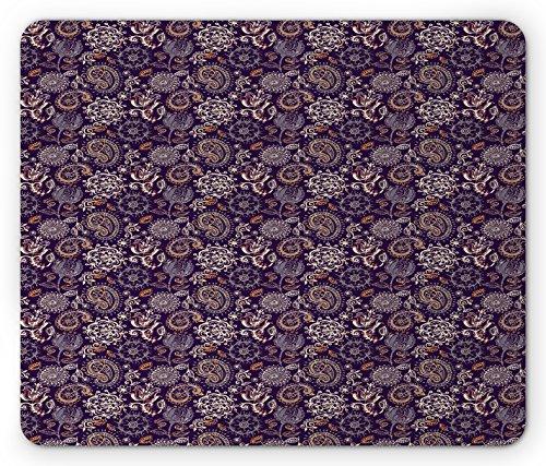 Effect Batik (Lunarable Paisley Mouse Pad, Botanical Floral Batik Pattern with Grungy Paint Effect Curly Petals and Leaves, Standard Size Rectangle Non-Slip Rubber Mousepad, Multicolor)